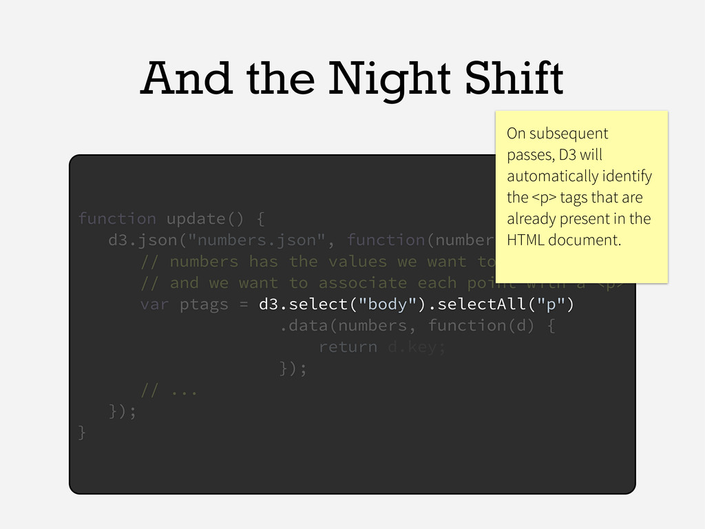 And the Night Shift function update() { d3.json...