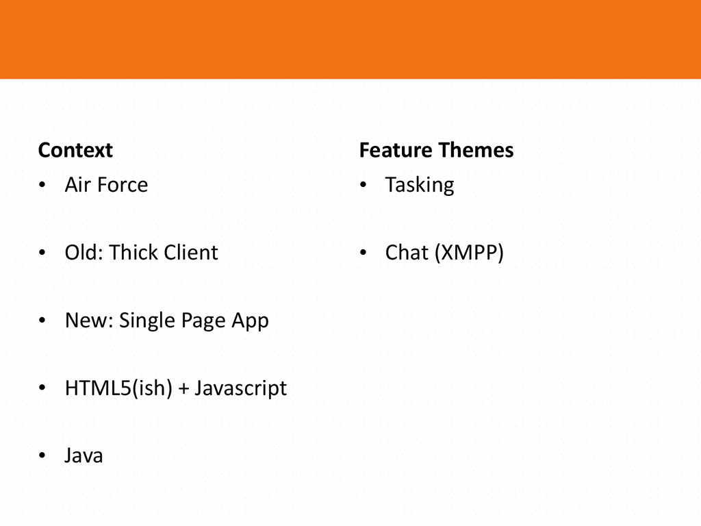 • Tasking  • Chat (XMPP) Feature Theme...