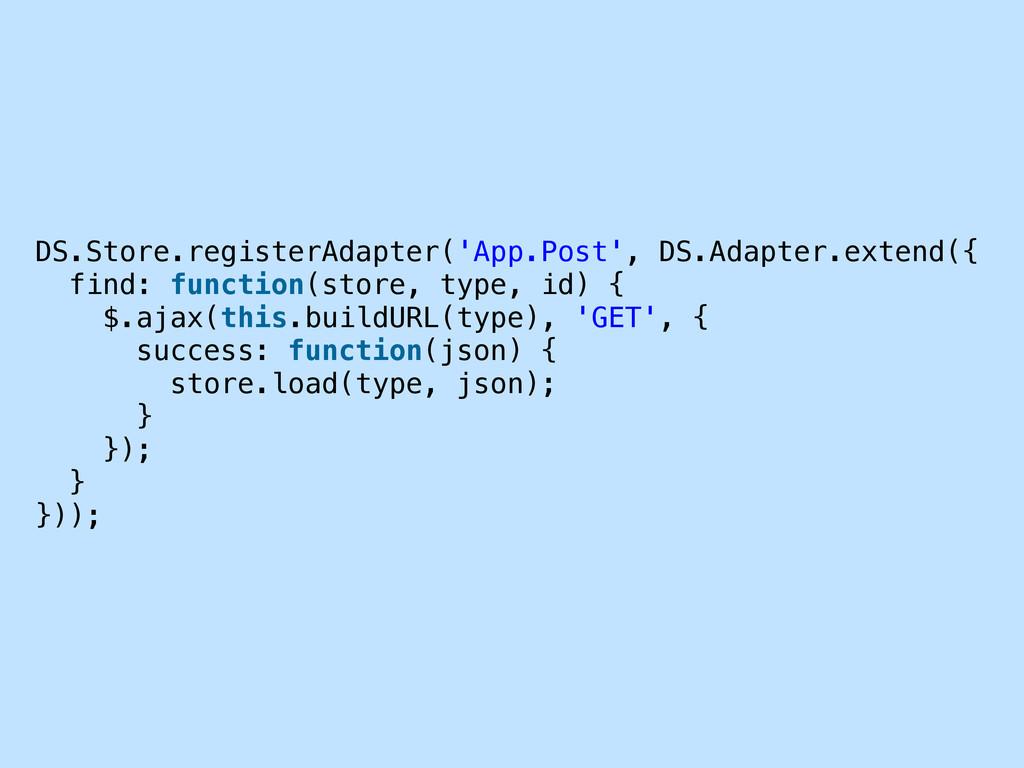 DS.Store.registerAdapter('App.Post', DS.Adapter...