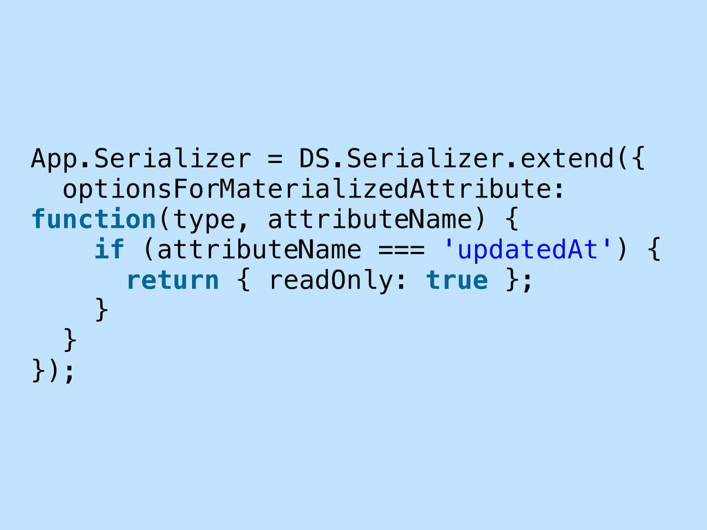 App.Serializer = DS.Serializer.extend({ options...