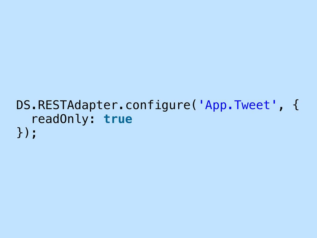 DS.RESTAdapter.configure('App.Tweet', { readOnl...