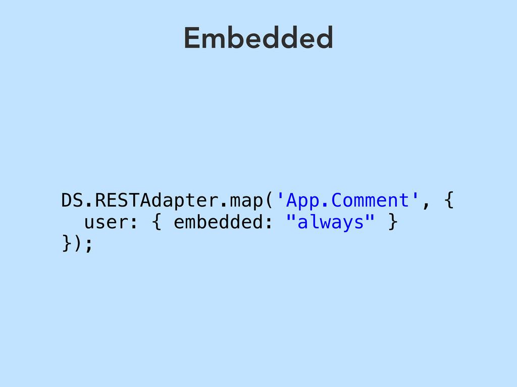 DS.RESTAdapter.map('App.Comment', { user: { emb...