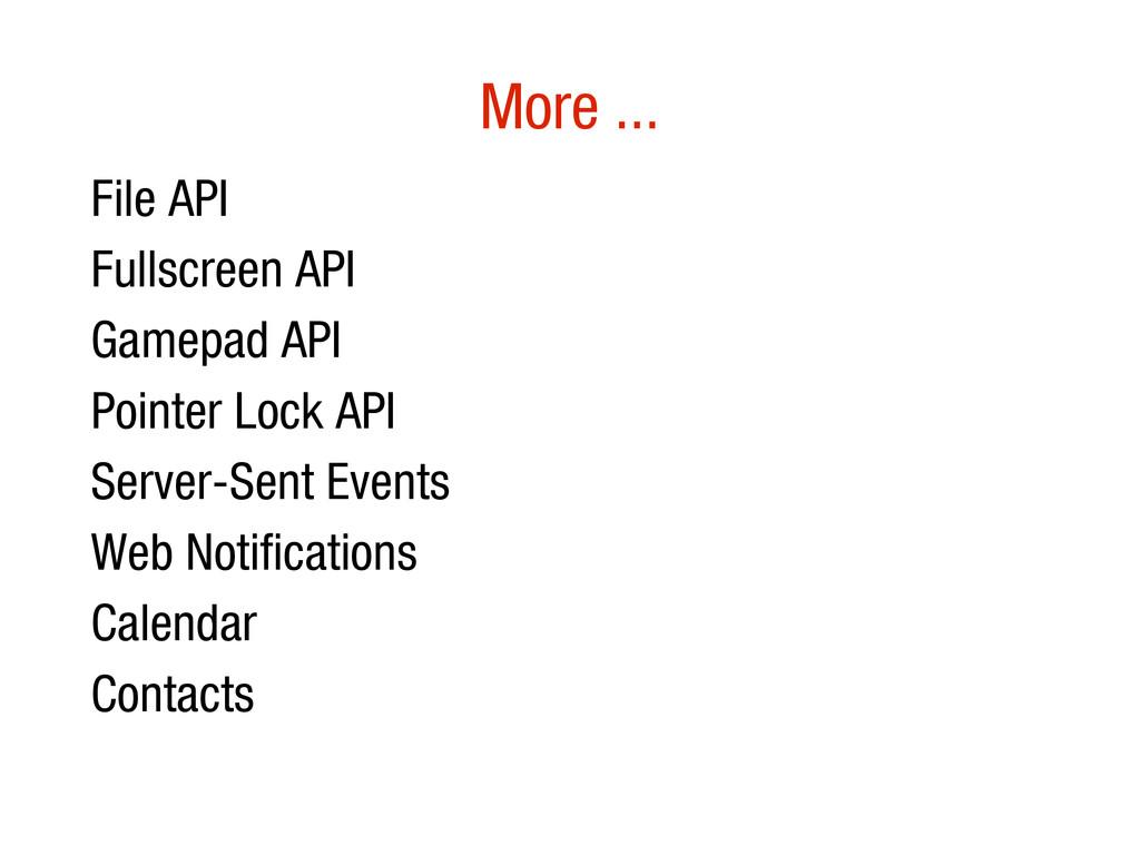 10/31/12 More ... • File API • Fullscreen API •...