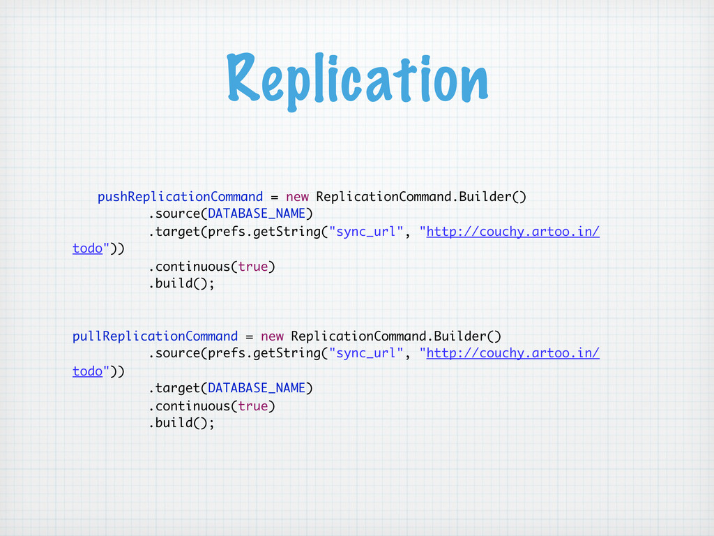 Replication pushReplicationCommand = new Replic...