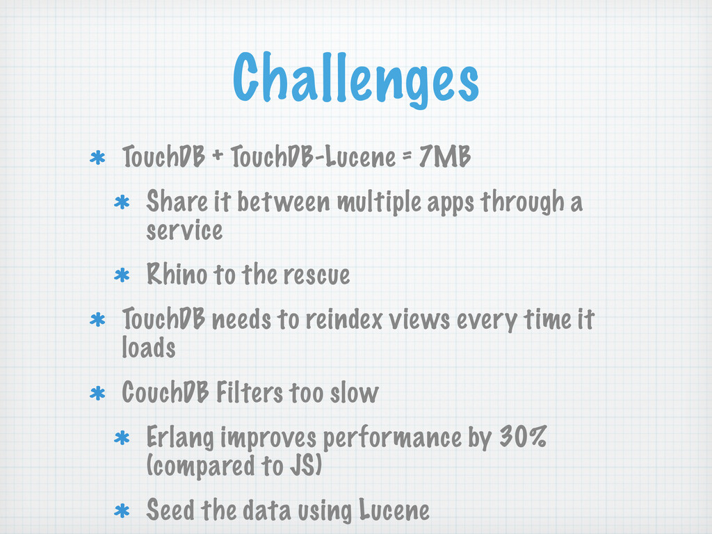 Challenges TouchDB + TouchDB-Lucene = 7MB Share...