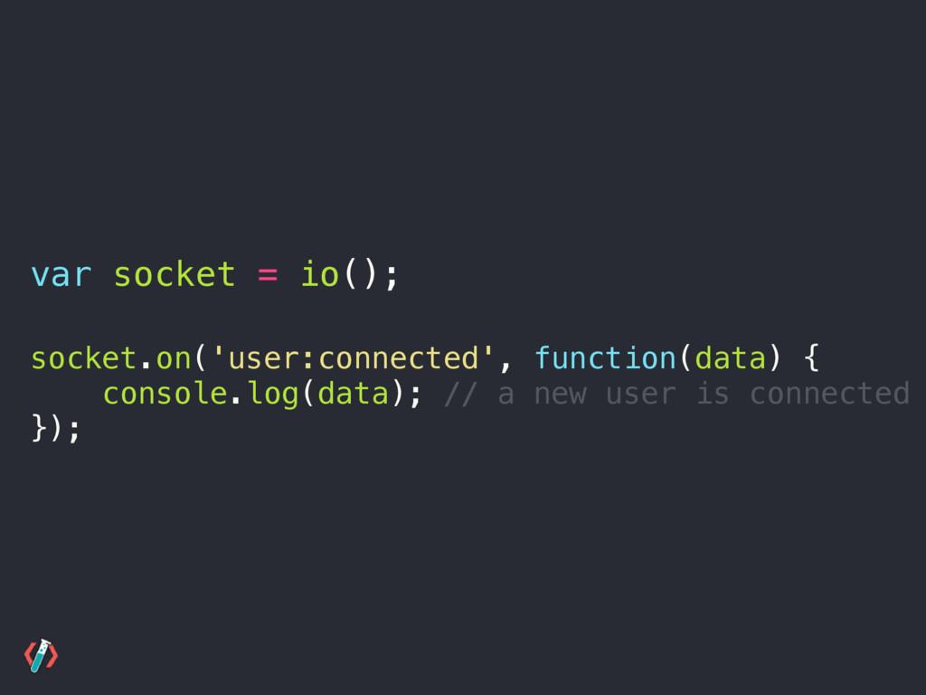 var socket = io(); socket.on('user:connected', ...