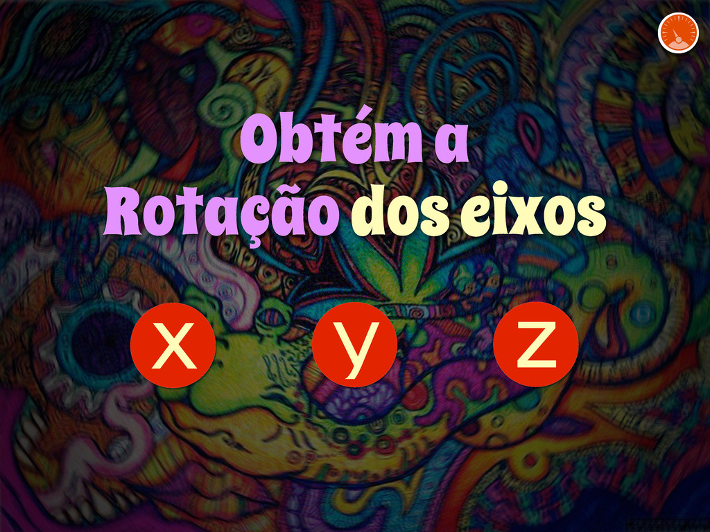 z y x Obtém a Rotação dos eixos
