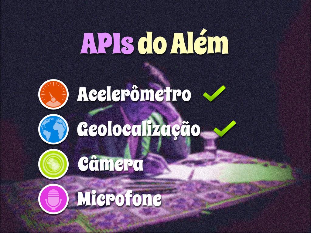 Geolocalização Acelerômetro APIs do Além Câmera...
