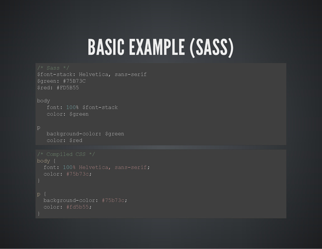 BASIC EXAMPLE (SASS) / * S a s s * / $ f o n t ...