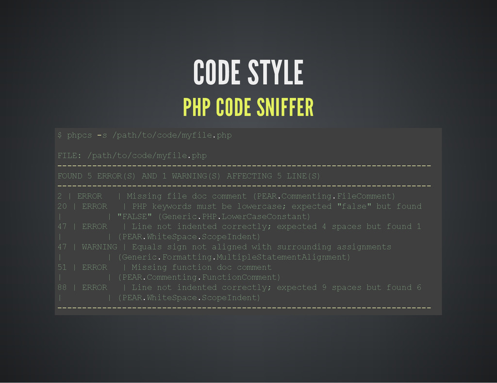 CODE STYLE PHP CODE SNIFFER $ p h p c s - s / p...