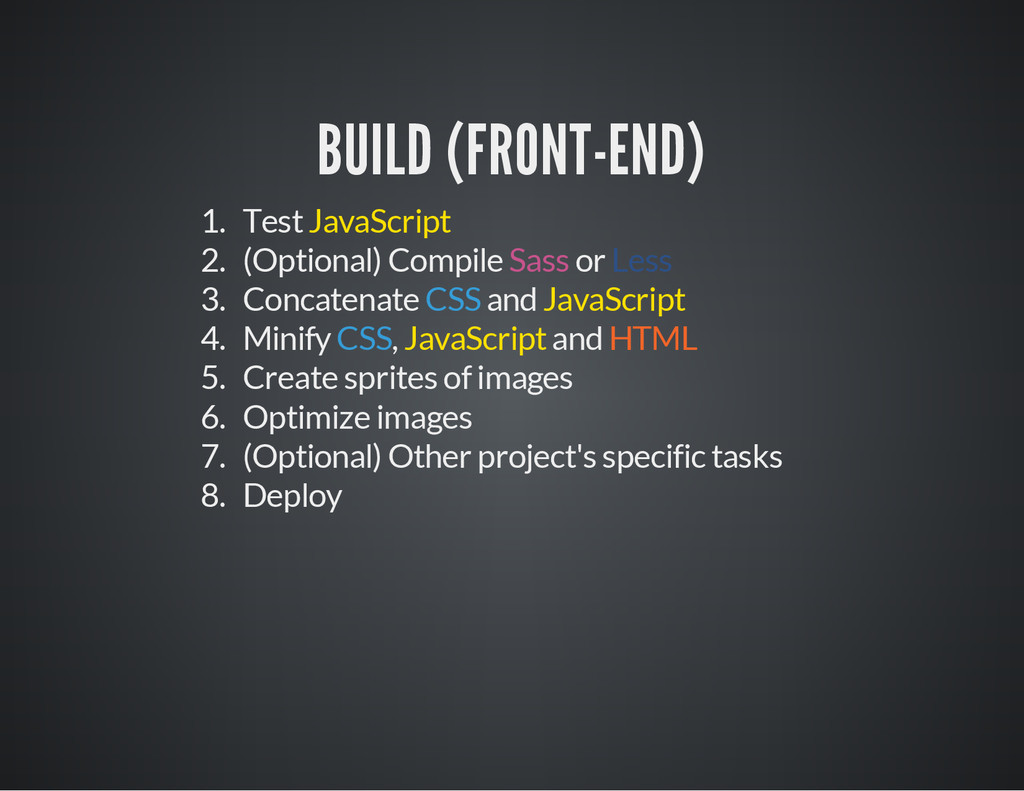 BUILD (FRONT-END) 1. Test JavaScript 2. (Option...