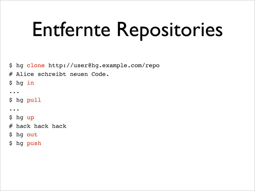 Entfernte Repositories $ hg clone http://user@h...