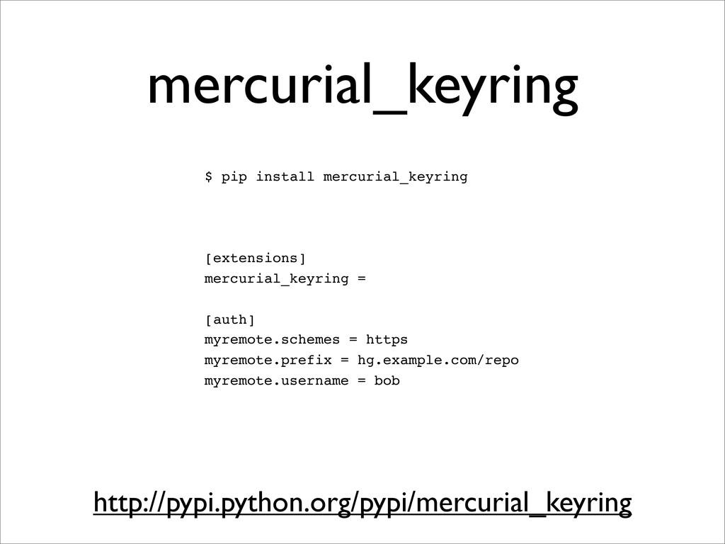 mercurial_keyring $ pip install mercurial_keyri...