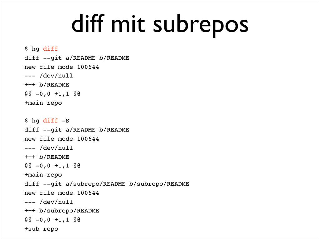 $ hg diff diff --git a/README b/README new file...