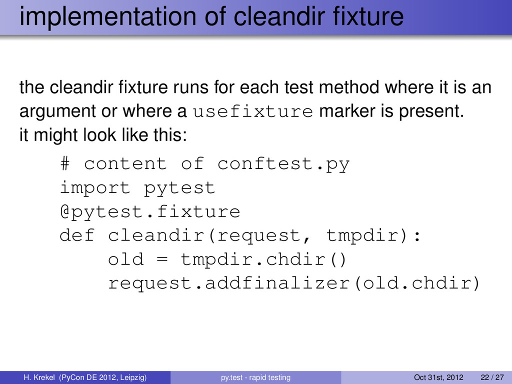 implementation of cleandir fixture the cleandir ...