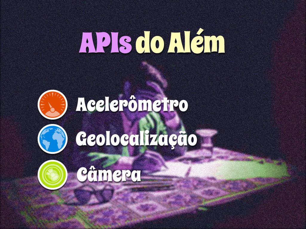 APIs do Além Acelerômetro Geolocalização Câmera