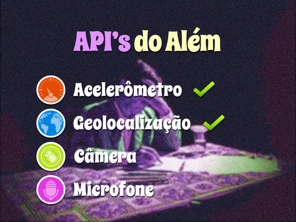 Geolocalização Acelerômetro API's do Além Câmer...