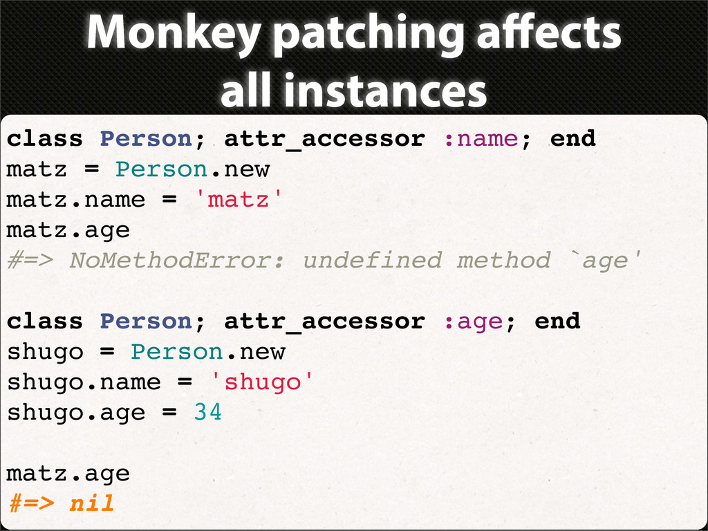 Monkey patching affects all instances class Pers...