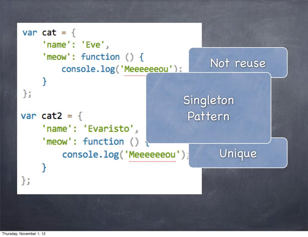 Not reuse Unique Singleton Pattern Thursday, No...