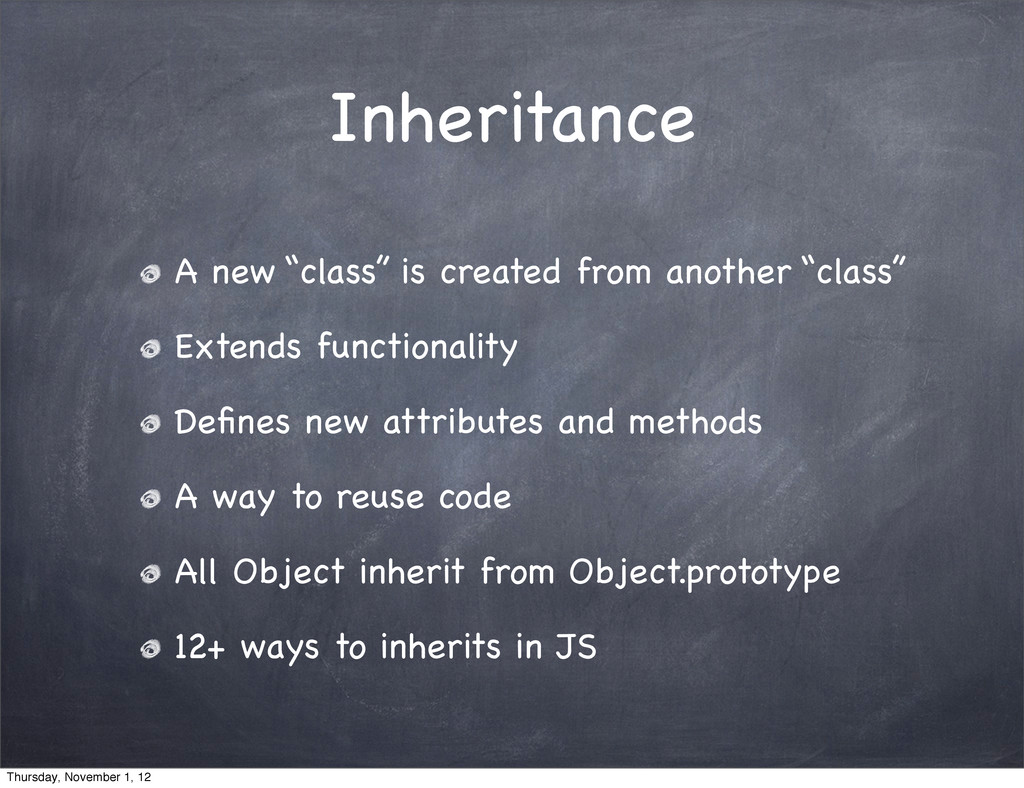 "Inheritance A new ""class"" is created from anoth..."
