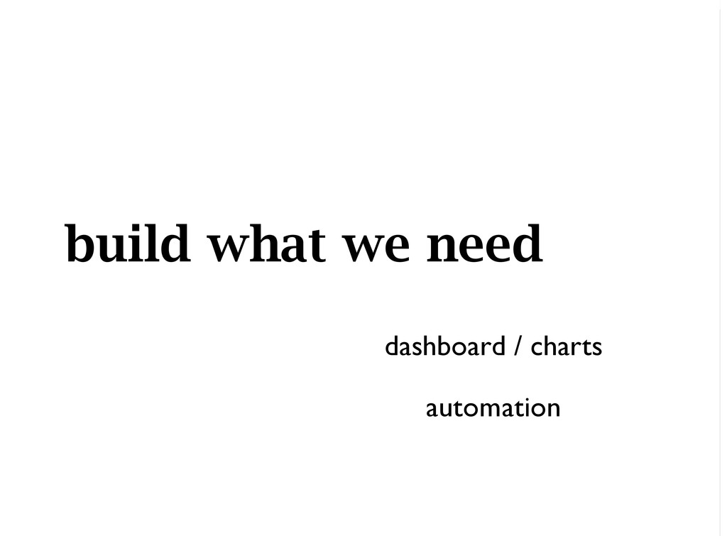 build what we need dashboard / charts automation