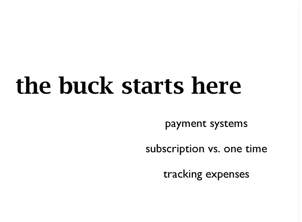 the buck starts here payment systems subscripti...