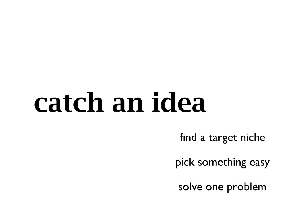 catch an idea find a target niche pick somethin...