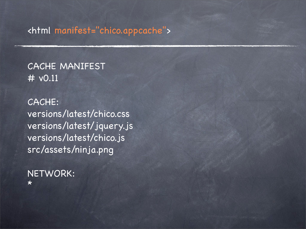 "<html manifest=""chico.appcache""> CACHE MANIFEST..."