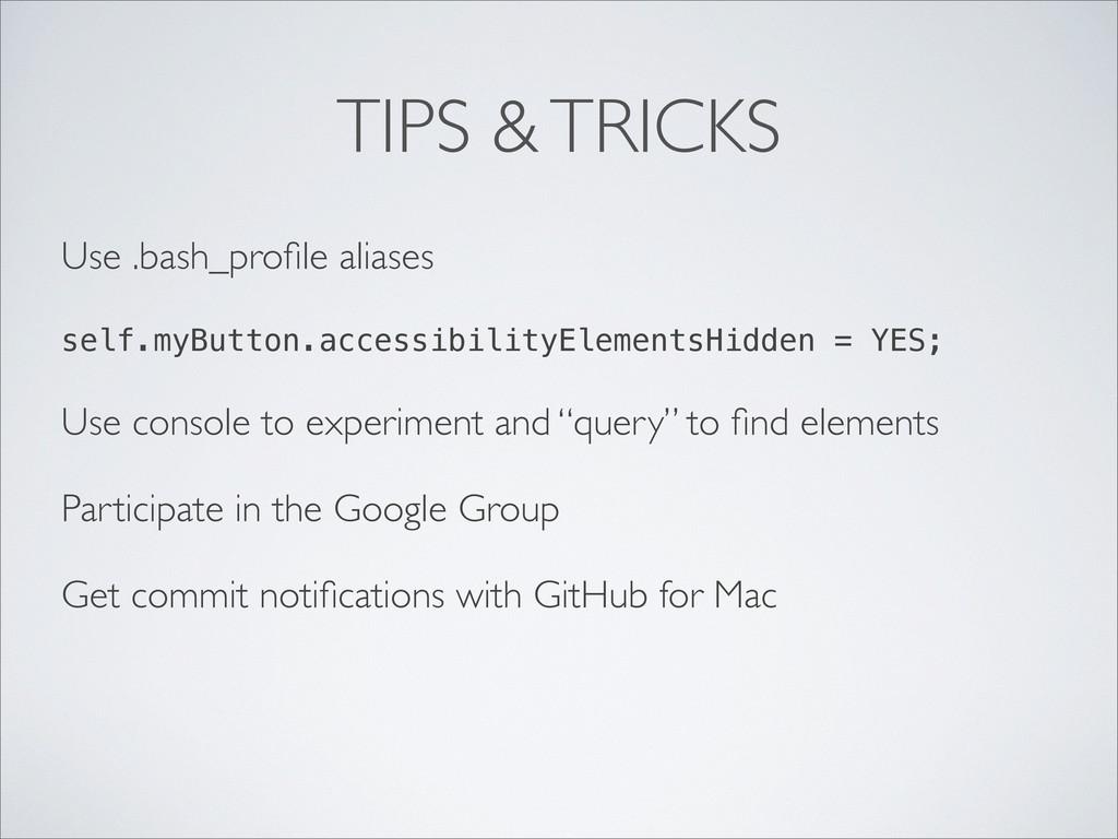 TIPS & TRICKS Use .bash_profile aliases self.myB...