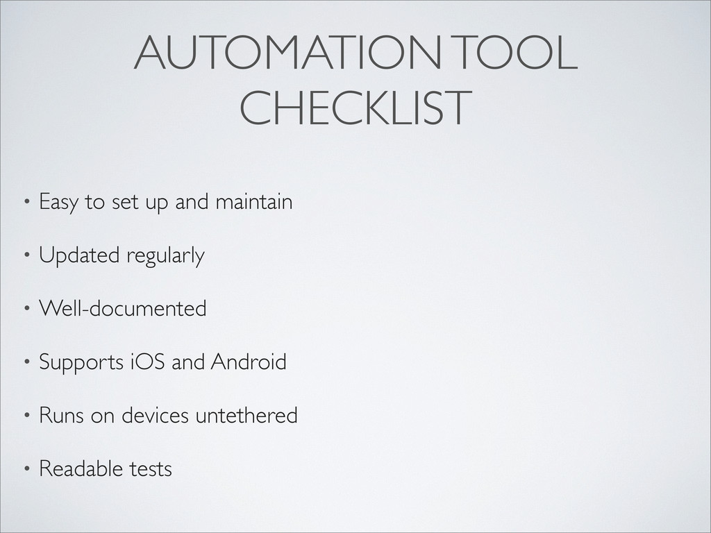 AUTOMATION TOOL CHECKLIST • Easy to set up and ...