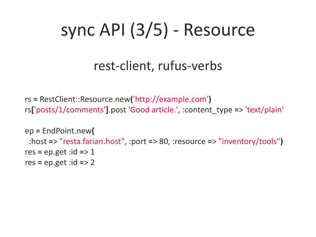 sync API (3/5) - Resource rest-client, rufus-ve...