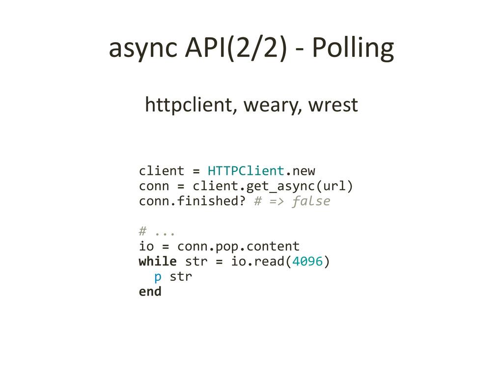 async API(2/2) - Polling httpclient, weary, wre...
