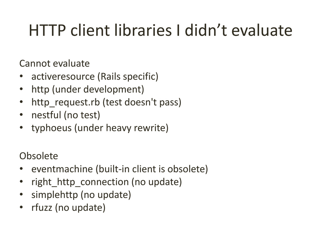 HTTP client libraries I didn't evaluate Cannot ...