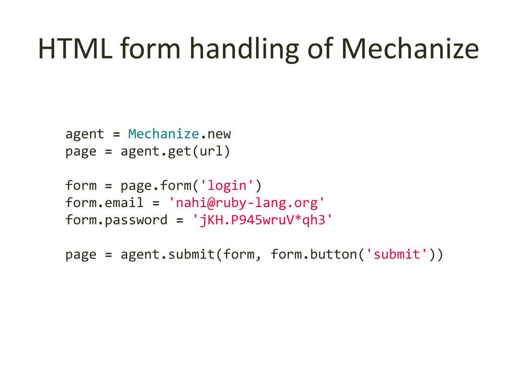 HTML form handling of Mechanize agent = Mechani...