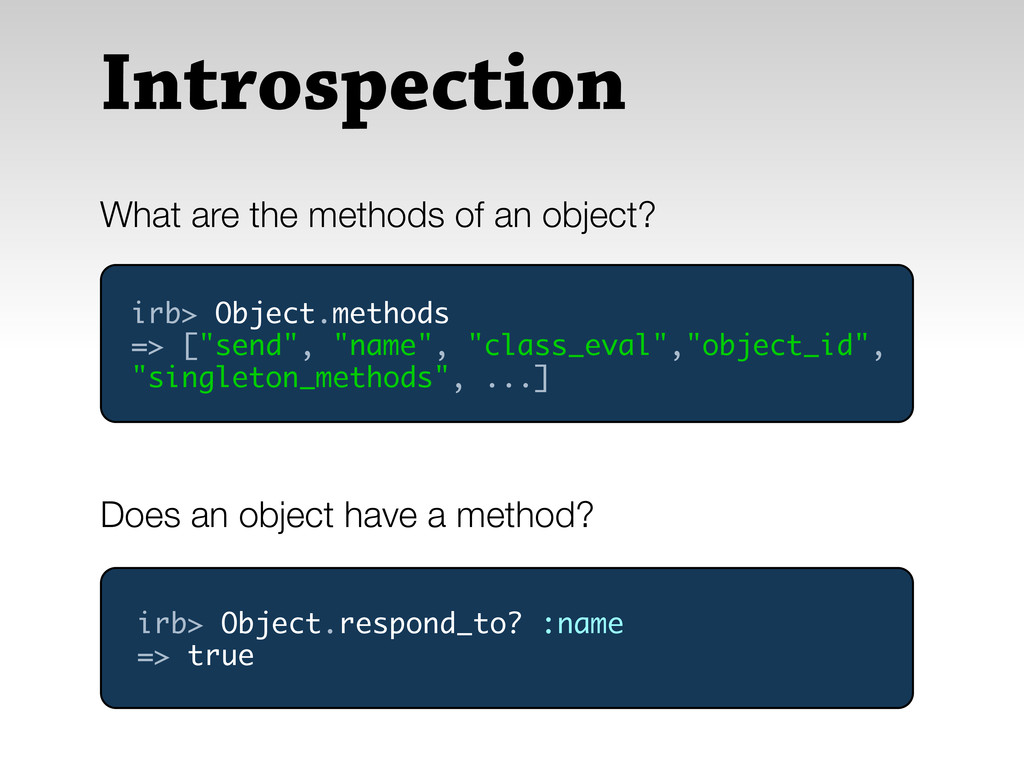 Introspection What are the methods of an object...