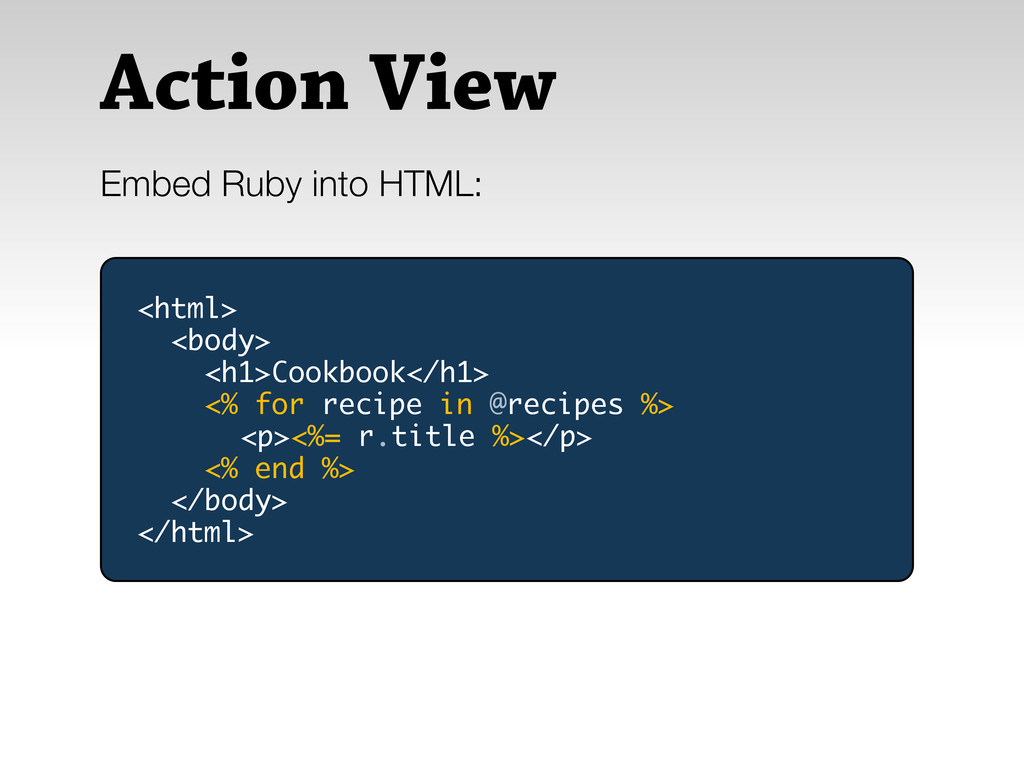 Action View Embed Ruby into HTML: <html> <body>...