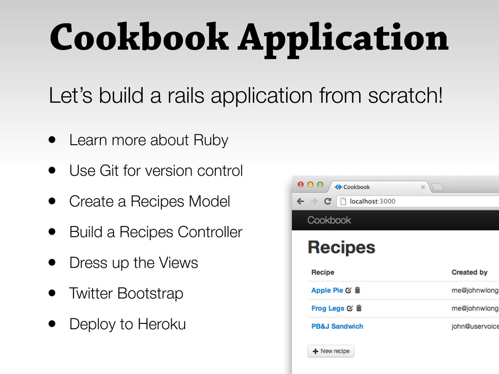 Cookbook Application • Learn more about Ruby • ...