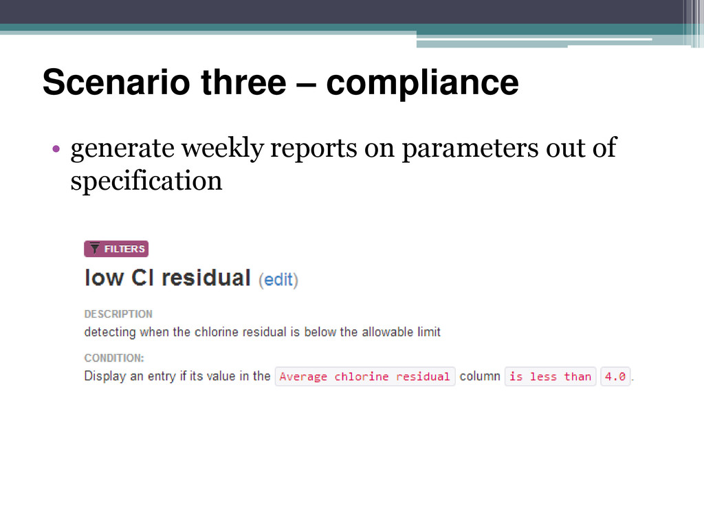 Scenario three – compliance • generate weekly r...