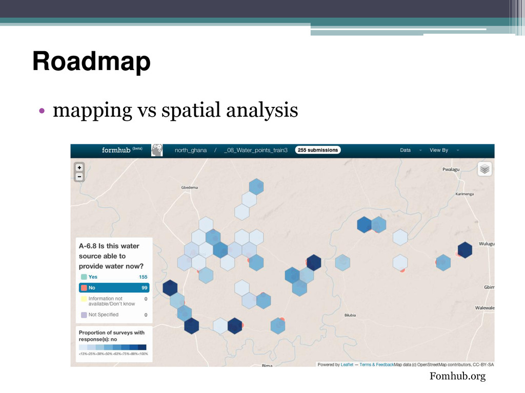 Roadmap • mapping vs spatial analysis Fomhub.org