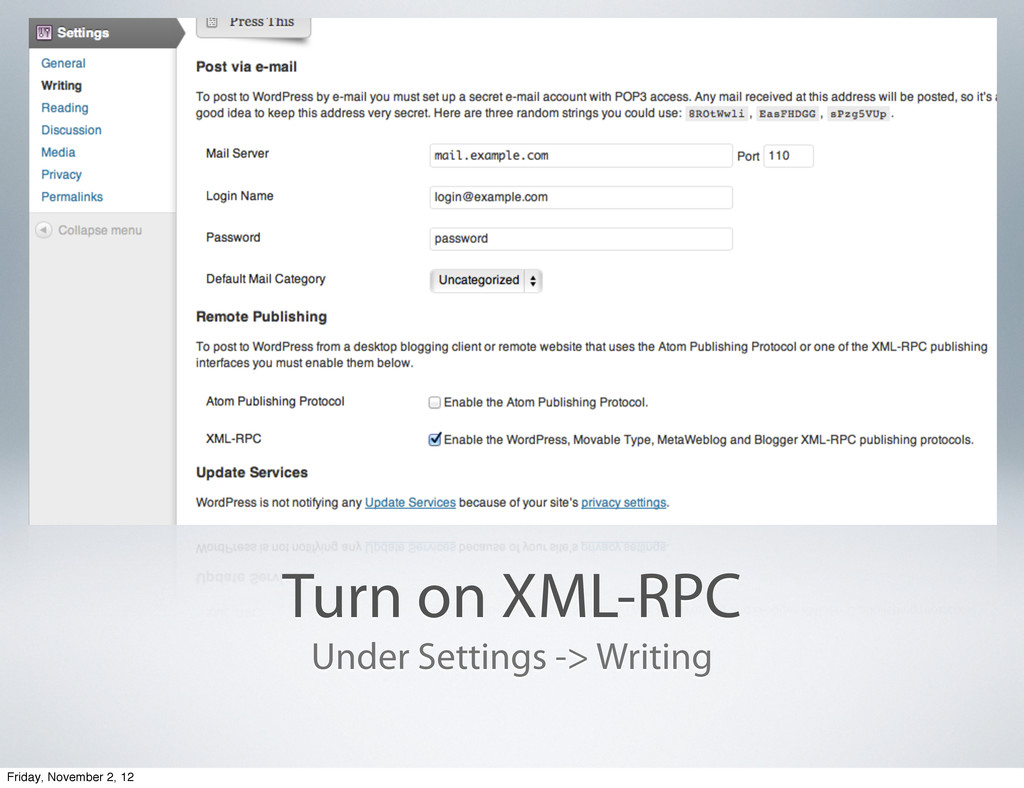 Turn on XML-RPC Under Settings -> Writing Frida...