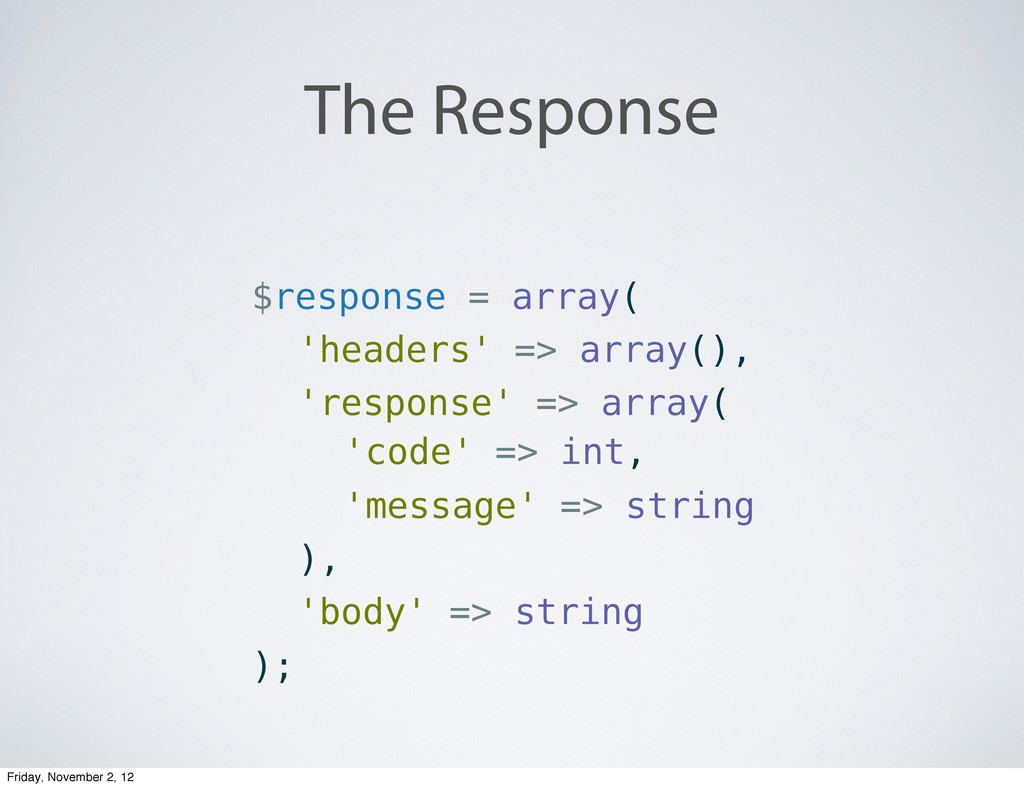 The Response $response = array( 'headers' => ar...