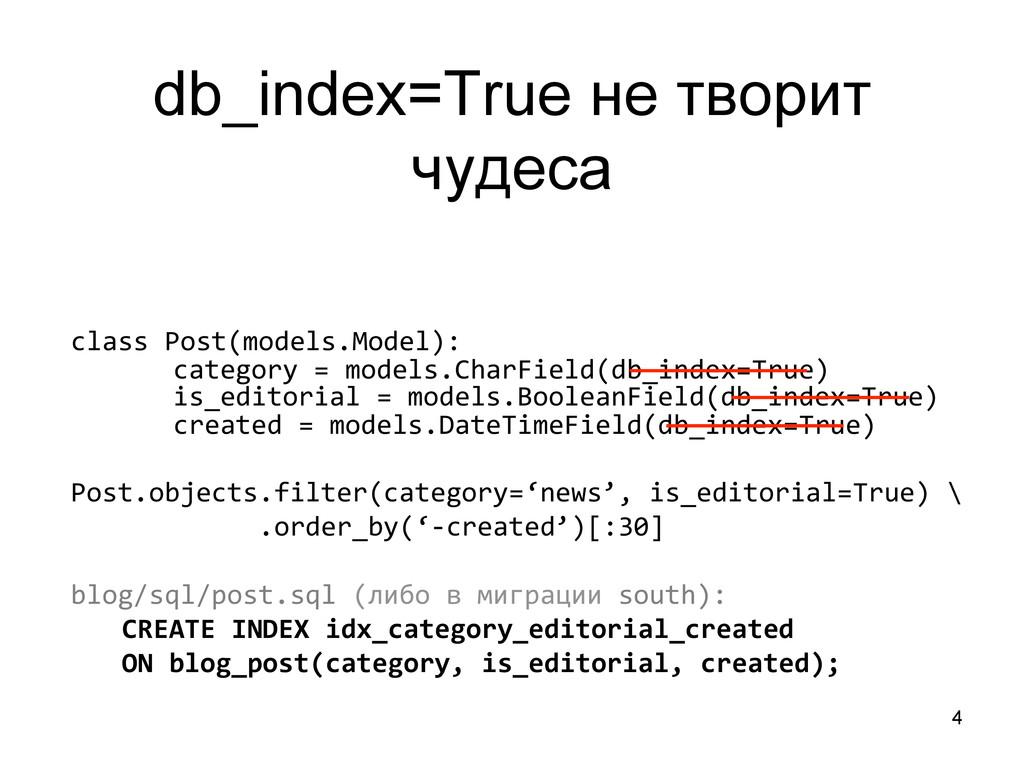 4 db_index=True не творит чудеса class Post(...