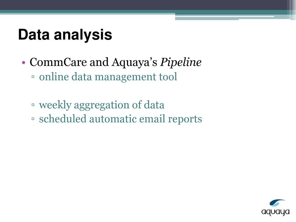 Data analysis • CommCare and Aquaya's Pipeline ...