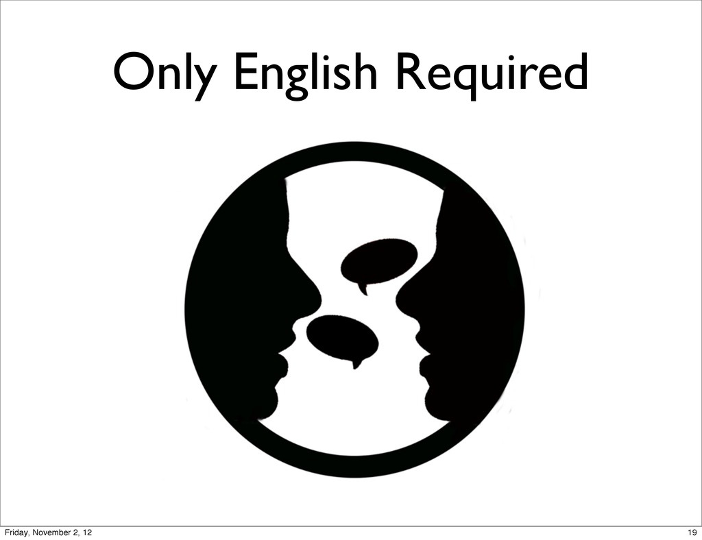 Only English Required 19 Friday, November 2, 12