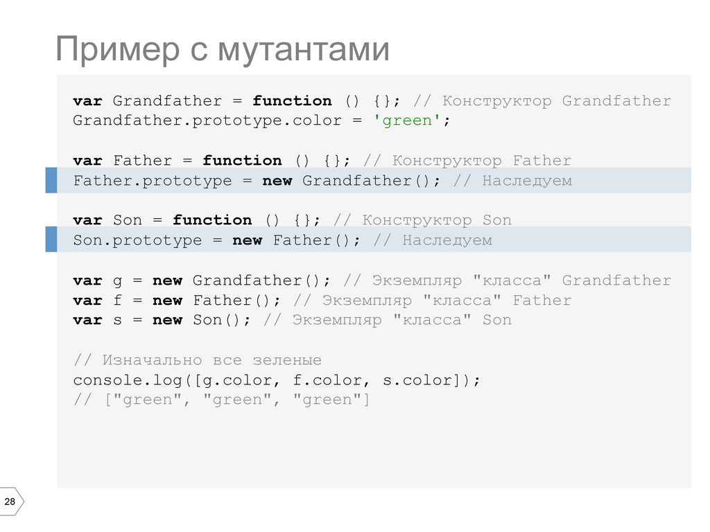 28 var Grandfather = function () {}; // Констру...