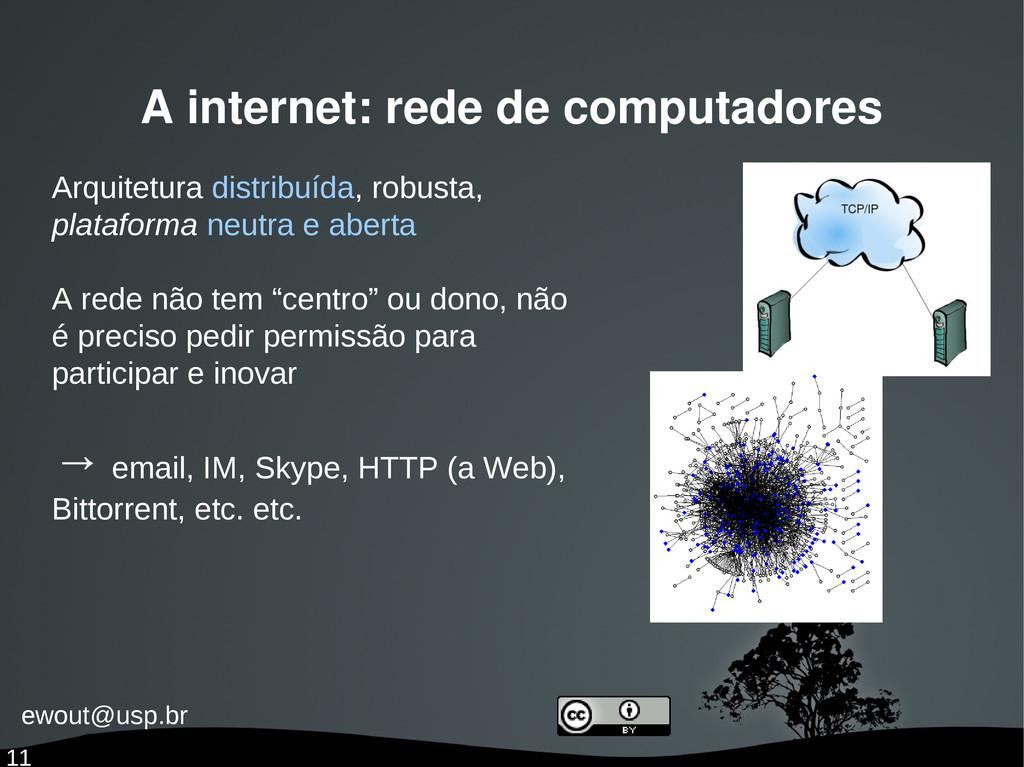 ewout@usp.br 11 A internet: rede de computadore...