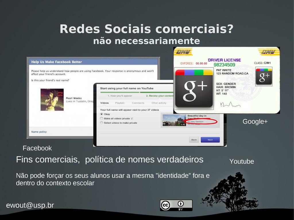 ewout@usp.br Redes Sociais comerciais? não nece...