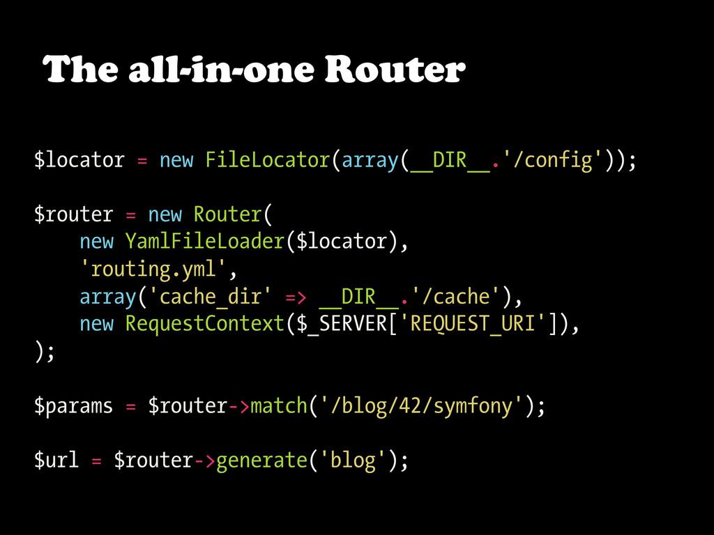 The all-in-one Router $locator = new FileLocato...