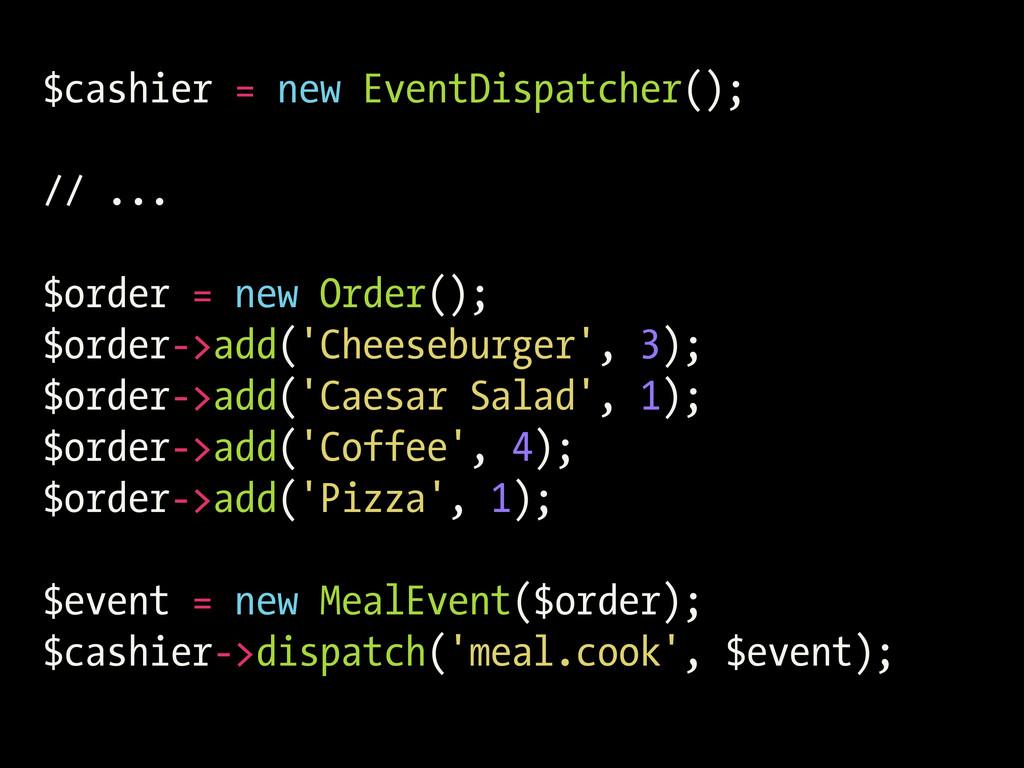 $cashier = new EventDispatcher(); // ... $order...