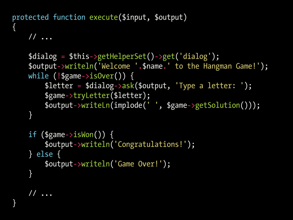 protected function execute($input, $output) { /...